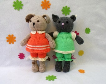 Toy doll knitting pattern. Cuties. Doggy and Kitty. PDF instant download knitting pattern.