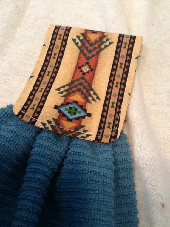 Southwestern teal hanging bar towel by timetosewboutique for Southwestern towel bars
