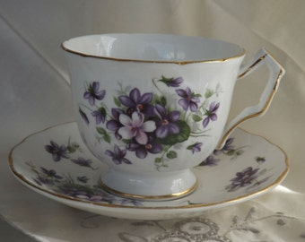 Aynsley Violets Teacup and Saucer