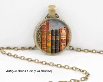 Library Books Pendant Necklace or Library Keyring Glass Art Print Jewelry,  Book Lover Teacher Librarian Writer Read Reading