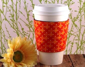 Shades of Orange Coffee Cozy - Orange Coffee Cozy - Coffee Cozy - Fabric Coffee Cozy - Tea Cozy