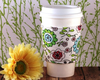 Fabric Coffee Cozy / Bright Flowers on White Coffee Cozy / Flower Coffee Cozy / Coffee Cozy / Tea Cozy