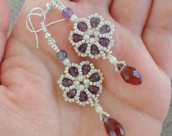 Beaded Amethyst Earrings, Lacy Earrings, Handmade Beadwoven Earrings, Beaded Earrings, Seed Beads Earrings, Purple Amethyst Jewelry for Her