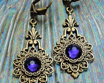 Gabriella Series Purple Crystal Earrings, Amethyst Earrings, Renaissance Victorian, Antique Earrings, Purple Velvet, Swarovski Earrings