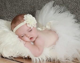 Ivory Baby Headband, Eyelet Flower, Ivory Headband, Ivory Hair Bow, Newborn Headband, Baby Headband