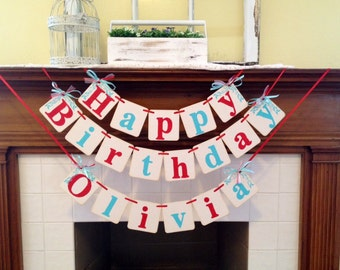 Olivia Pig Birthday Banner Or Dr. Seuss Thing One Thing Two Birthday Party Decoration Birthday Banner Red and Aqua or Custom Name and Colors