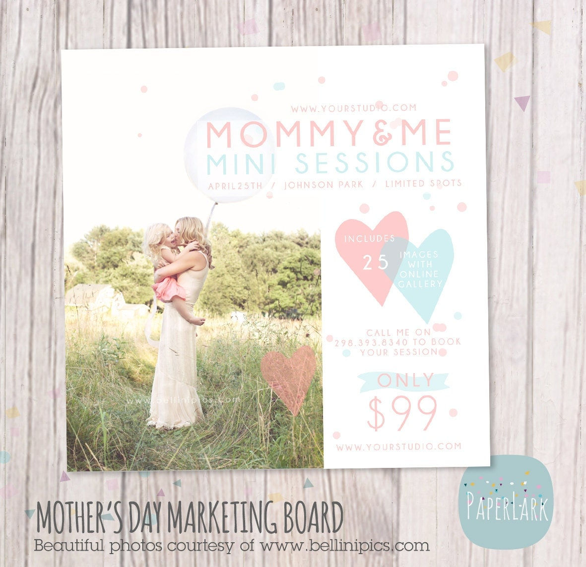Mother's Day Template Mini Session Photoshop Template