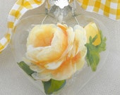 Yellow Rose Glass Heart Ornament Handpainted Valentine - ChippyGreen