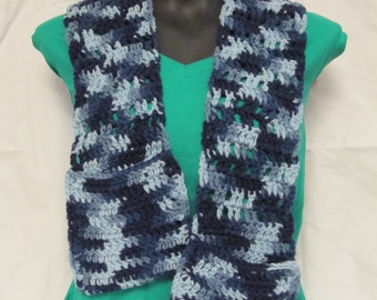 Ladies Crochet Scarf with Pockets, shades of blue