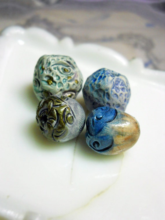 Polymer Clay Beads - 4 Rustic Glazed Beads -  Textured Rounds & Nuggets, Turquoise, Blue, Metallic Gold - Fancy Ornate Caps