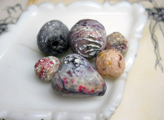 Handmade Clay Beads - 6 Rustic Mixed Material Beads -  Polymer, Epoxy, and Paper Clay Beads - Textured, Colorful, Heart, Round, Nuggets