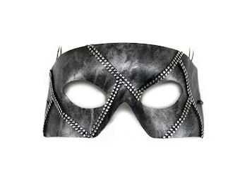 Rafe Silver Mesh Hand-Painted Men's Masquerade Mask - A-2236S-E