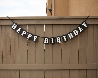 HAPPY BIRTHDAY banner for Birthdays, Party Banners, Signs, Sign   Black & Cream