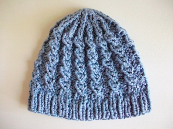 Knitting Pattern Cable Hat Easy : Easy Knit Hat Pattern Mock Cable Knit Hat Boho by BlueStockinette