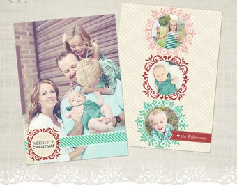 Christmas Card Template for Photographers - 5 x 7 Flat Card - Holiday Cheer