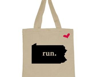 RUN Pennsylvania Canvas Tote Bag