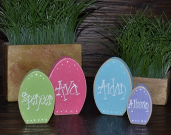 Easter block set personalized wood block love set home decor easter place card set personalized place card holder block love home decor primitive block easter negle Images