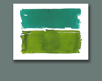 Abstract Art, Original Watercolor Painting, Abstract Painting, Landscape, Fine Art, Stripes, Green, Teal, White, Bluish Green, Minimal Art