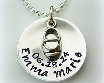 Baby Shoe Name Necklace handstamped personalized jewelry necklace mom mommy mother's day