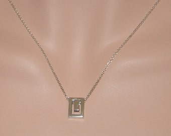 Sterling Silver Double Hollow Rectangle Necklace