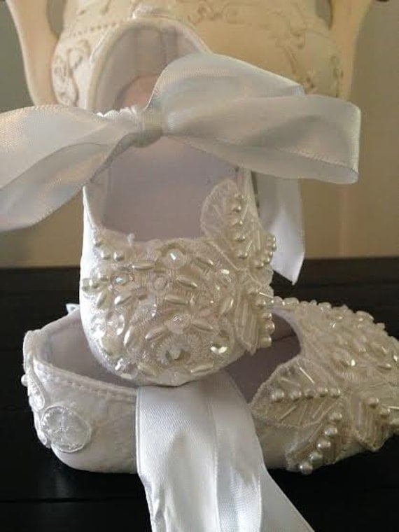 Ivory Christening Baptism Baby Lace Hand Beaded Crib First