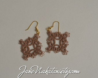 tatting lace earrings -Mocha Brown-