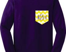 Monogram Long Sleeve t shirts tshirts Monogrammed Chevron Pocket Long Sleeve shirts tshirt t shirt