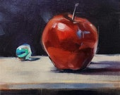 Apple and the Marble. Original oil on Canvasboard