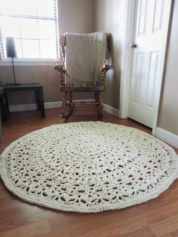 Häkeln Sie Teppich Ecru Natur Beige Deckchen von