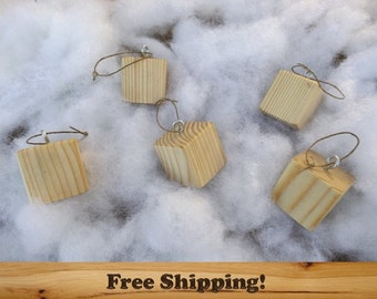 10 Wooden Block Ornaments, All Natural, Finished, Sanded Edges, 1.5 Inch Square Wooden Ornament Set