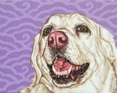 Custom Colorful Pet Portrait, 8x10 Dog Painting, Labrador Retriever Painting, White Lab Wall Art for Nursery, Labrador Art