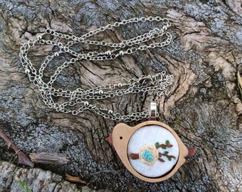 Wooden Bird w/Nest - hand embroidered necklace, bird, nest, eggs, wooden