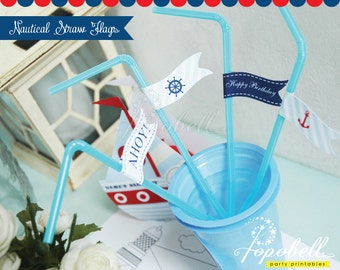 Nautical Straw Flags for Nautical Birthday Party. DIY Nautical Printable. In 4 designs! DIY for straw or cupcake toppers. Instant Download.