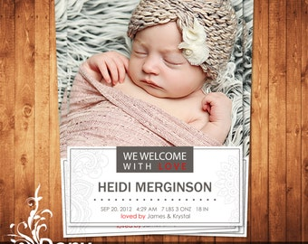 BUY 1 GET 1 FREE Birth Announcement - Neutral Baby Announcement Card - Photoshop Template Instant Download: cardcode-184