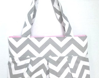 Diaper bag purse school bag in choice of fabric and lining medium- bottle pockets and slip pockets.  you customize