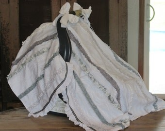 Grey & White Light-Weight Infant Carseat Canopy - Shabby Chic - Ties - Gray White Ruffles - Eyelet - Optional Split Front w/ Snaps or Lining