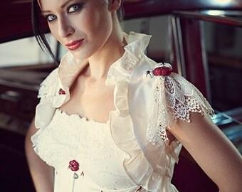 "White Red Silk Bolero Victorian Lace ""Fleurs de Cerisier"" Garnet - UNIQUE PIECE Wedding Size S"