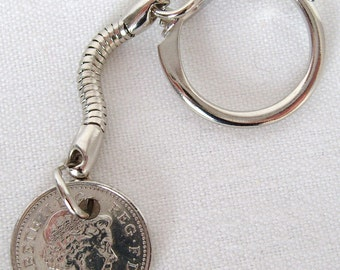 2006 British Five Pence Coin Keyring Key Chain Fob Queen Elizabeth II