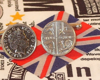 Boxed Pair  British 2014 Five Pence Penny Coin Cufflinks Wedding Birthday Anniversary