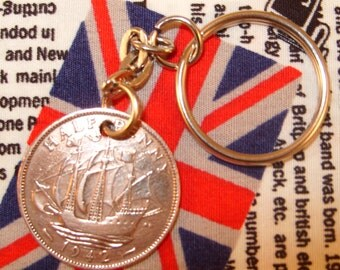 1942 Ha'penny Old Half Penny English Coin Keyring Key Chain Fob King George VI