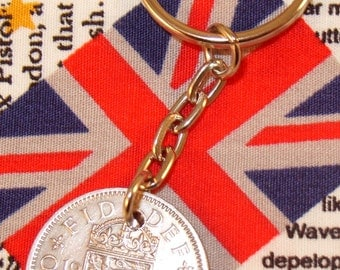 1962 Old English Shilling Coin Keyring Key Chain Fob Queen Elizabeth