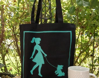 Dog Hand painted 100% cotton canvas tote-dog walker/paw/pet tote