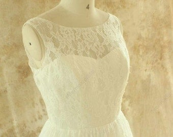Ivory A line lace wedding dress with illusion neckline