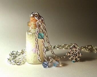 Frozen Elsa Vial Necklace - Disney Frozen Inspired - Handmade Corked Glass Bottle - Silver Snowflake Charm