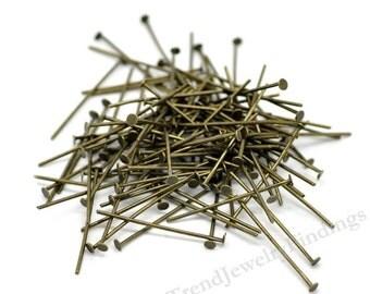 BULK - 400 Bronze Headpins - 21 gauge pins - Jewelry Making Findings Supplies Wholesale Lot - HP27