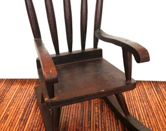 Popular items for small rocking chair on etsy for Small wooden rocking chair for crafts