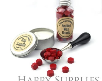 80pcs (SW14-G) Red  Sealing Wax Beads in Bottle for Wax Seal Stamp, Gift Pack, Spoon & Candle Available for Set.