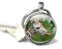 Giraffe Keyring, Key chain gift, Giraffe  lover, Giraffe  Keychain, Giraffe  photo charm, Giraffe photo keyring, photo glass keyring