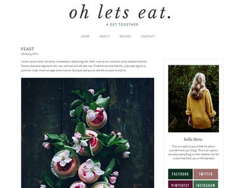 Wordpress Theme - Modern Minimal Food Blog Design - Foodie Blog - Oh Lets Eat.