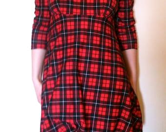 Red Tartan peter pan collared dress (custom)